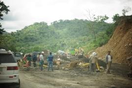 Repairing a recent landslide