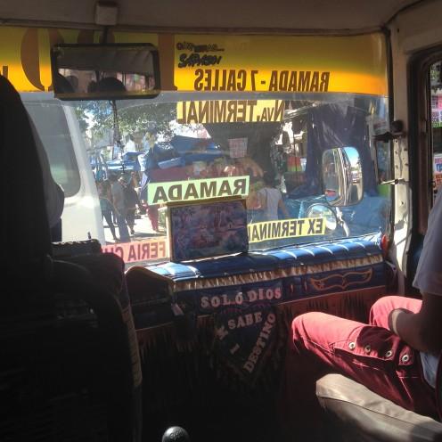 View through a bus window